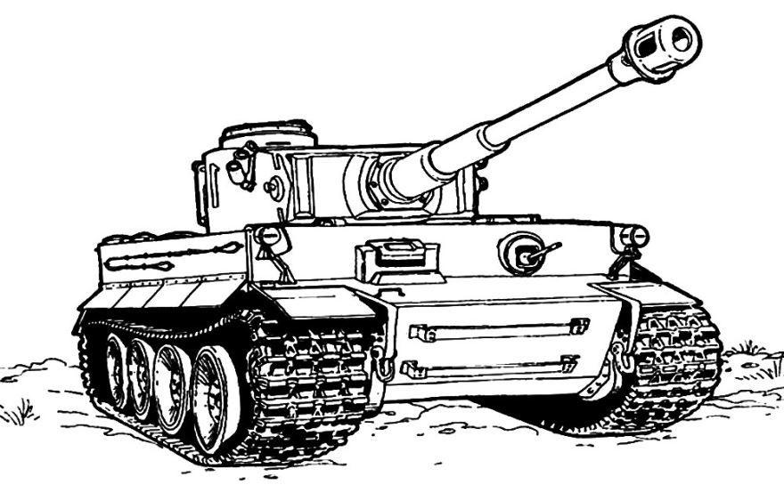 Военный танк, раскраска для мальчиков