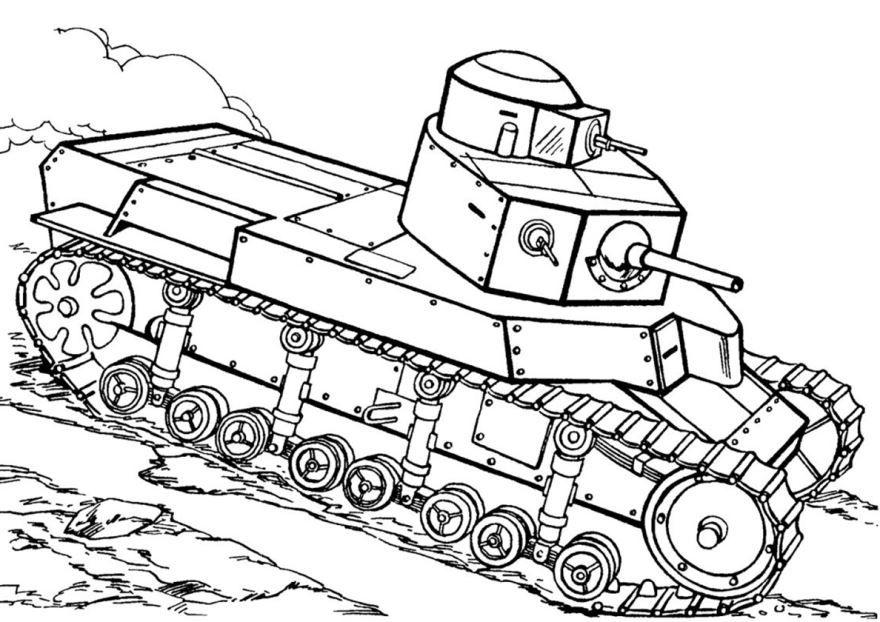 Раскраска танк, скачать и распечатать бесплатно