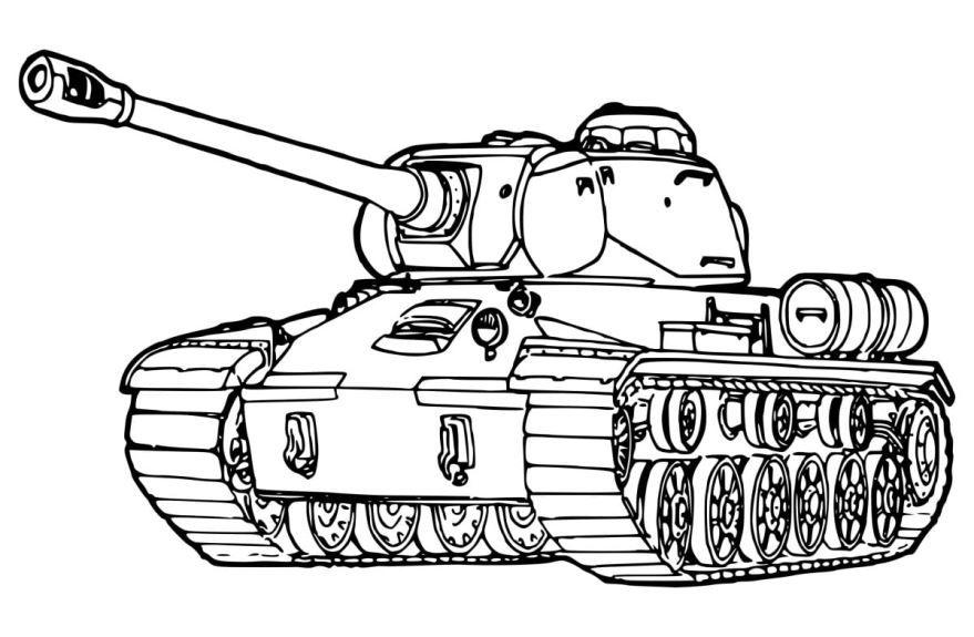 Распечатать раскраску танк, онлайн бесплатно