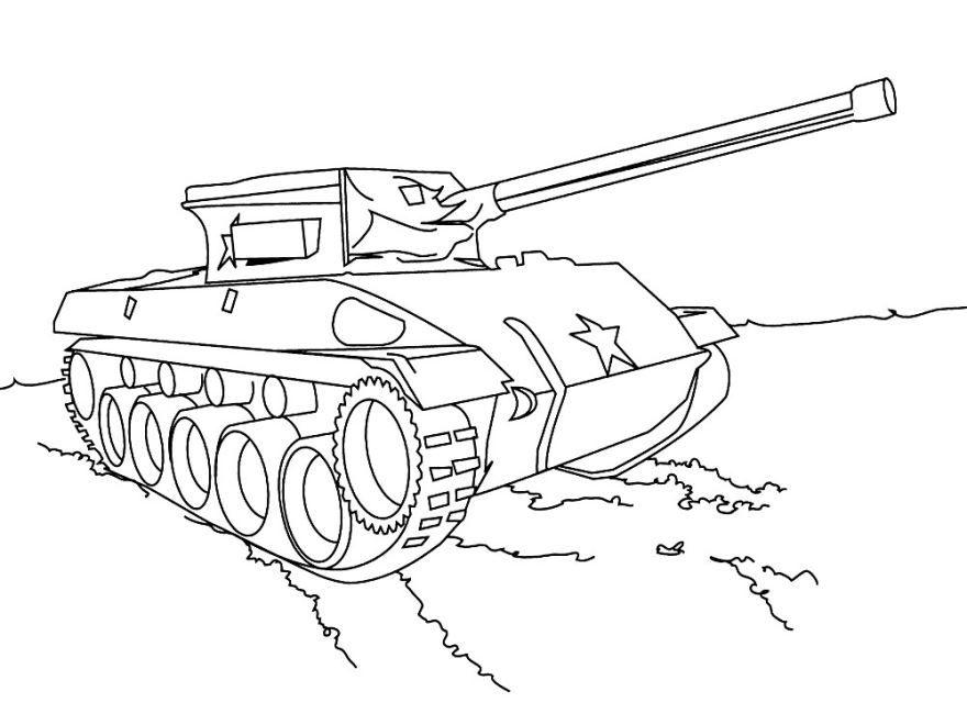 Раскраска танк для детей, распечатать