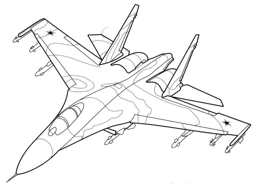 Раскраска военный самолет, для детей