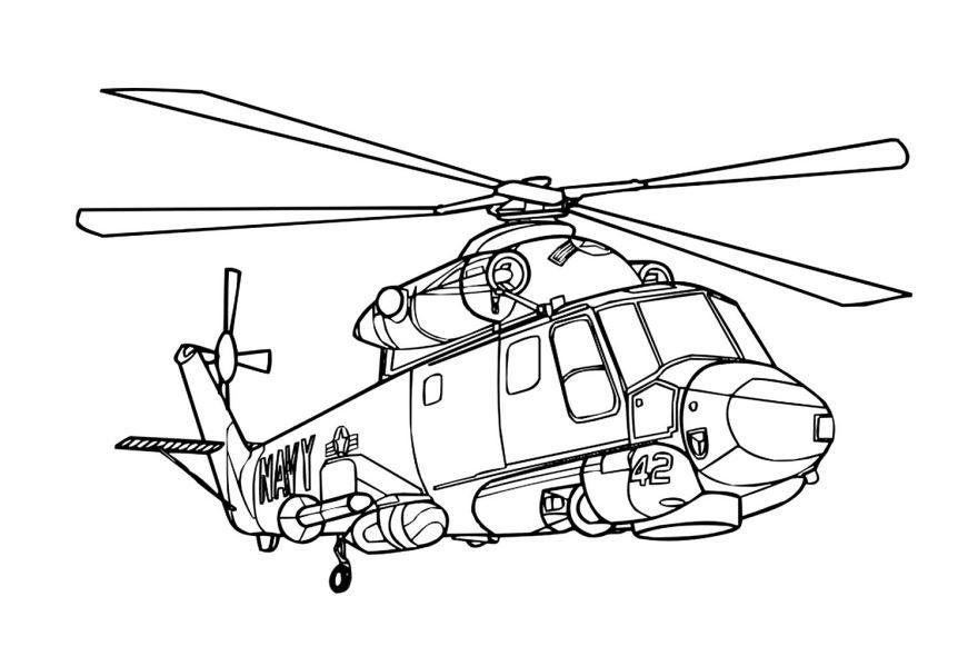 Вертолет картинка раскраска