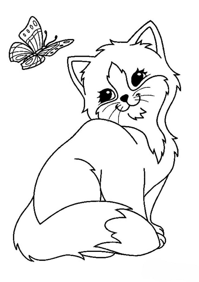 Раскраска для детей - кот