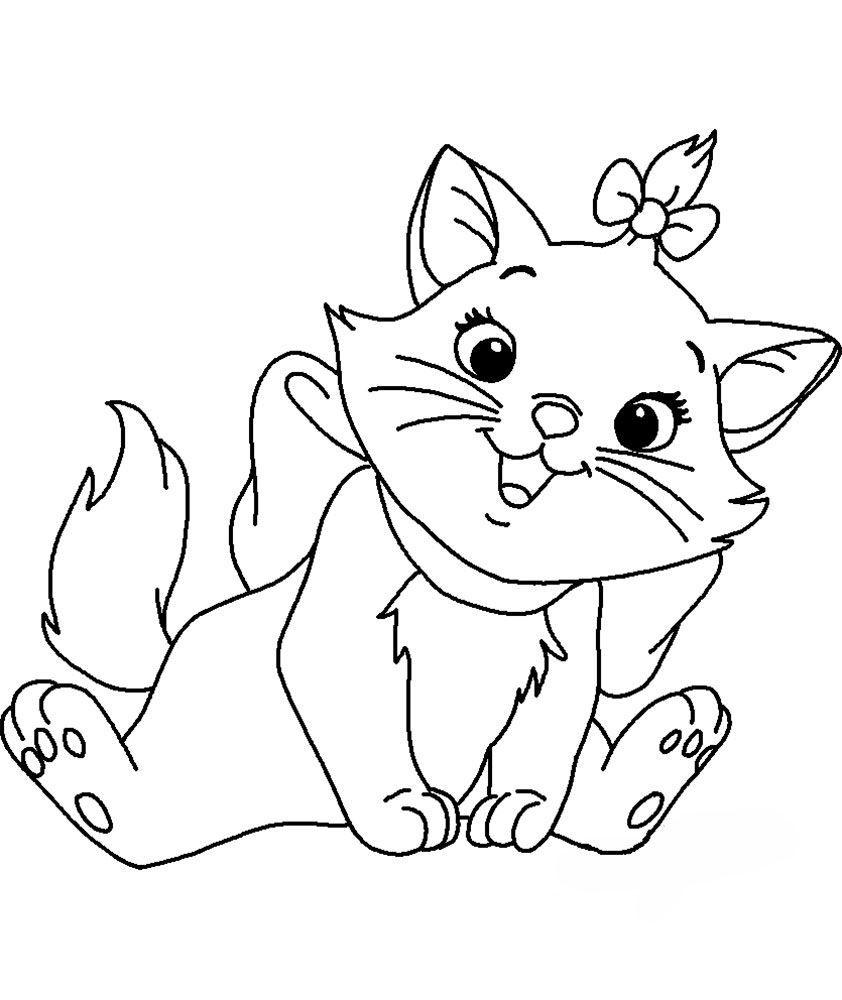 Распечатать раскраску кот для детей, бесплатно