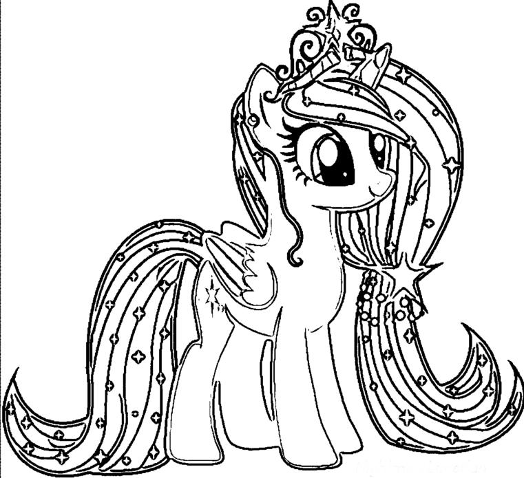 Распечатать раскраску пони, для девочек бесплатно