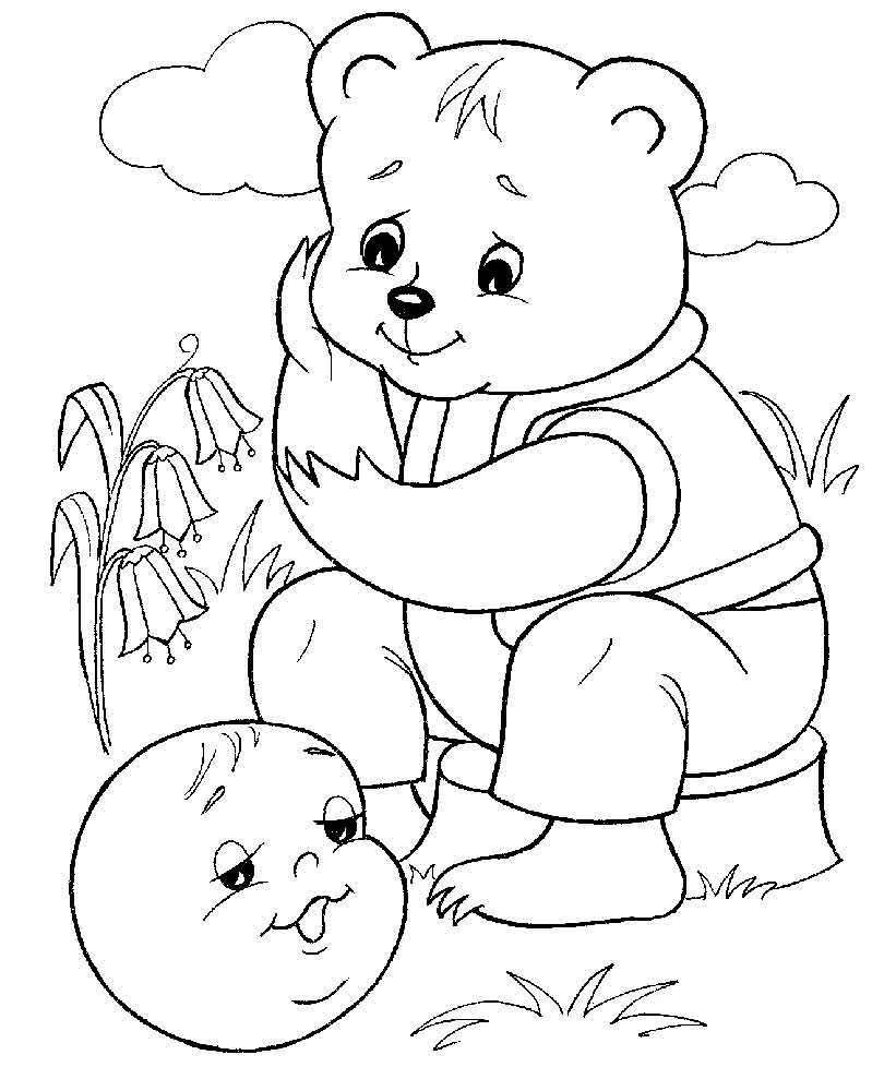 Сказка Колобок, для детей раскраска