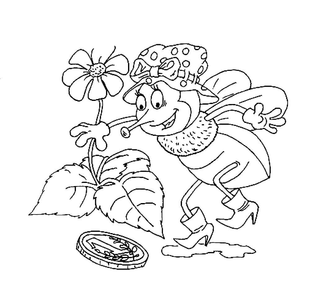 Раскраска сказки - Муха-цокотуха