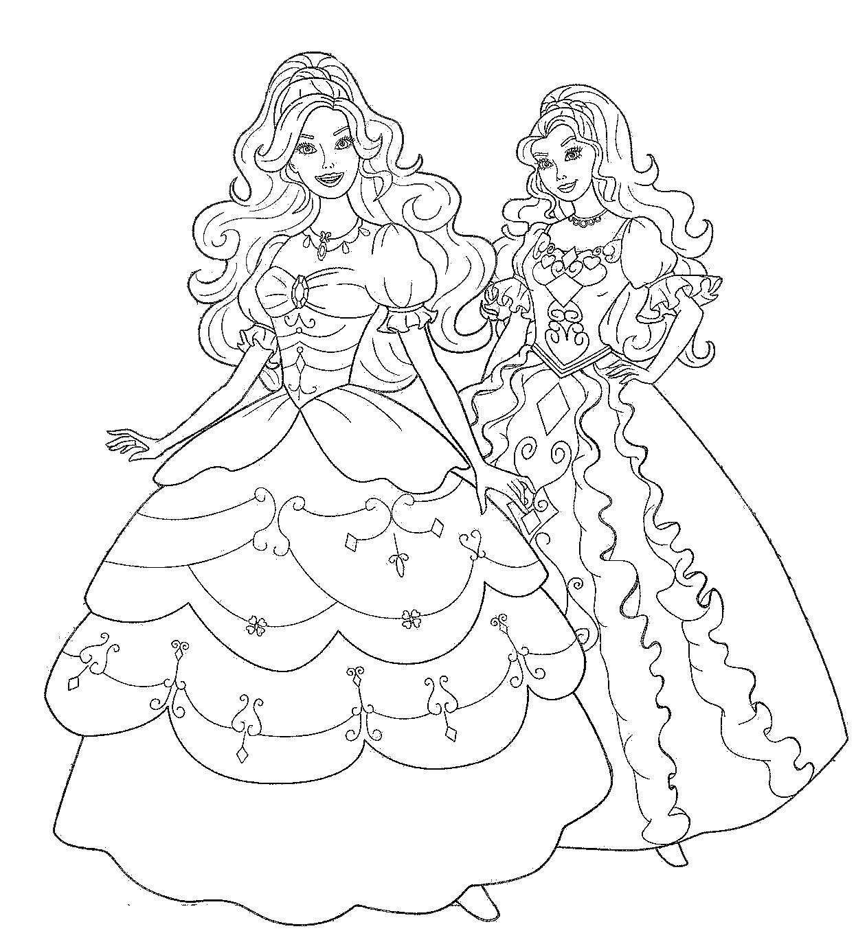 Раскраска Барби принцесса, для девочек