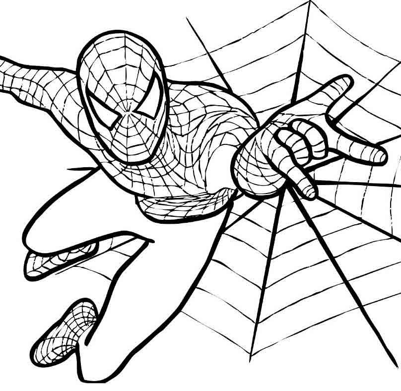 Раскраска человек паук, бесплатно