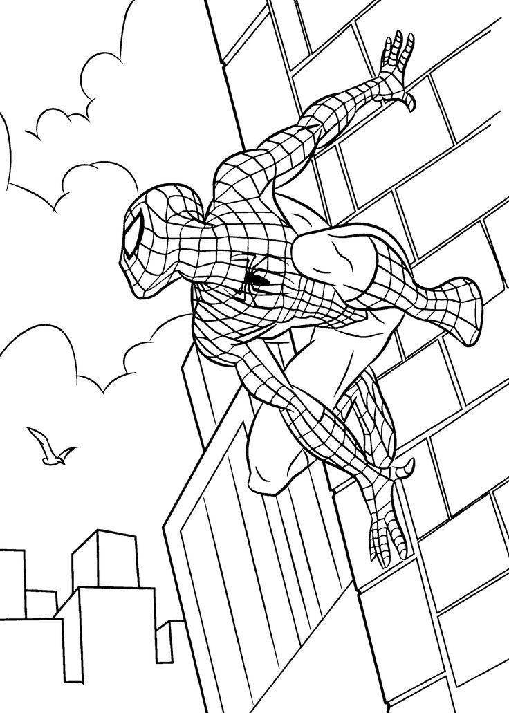 Скачать и распечатать раскраску для мальчиков - человек паук