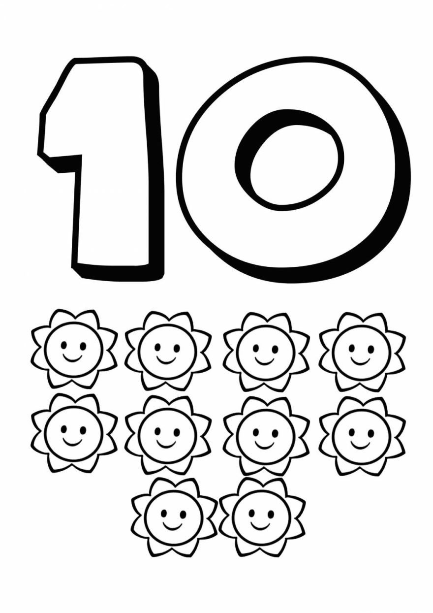 Раскраска цифра - 10, распечатать бесплатно