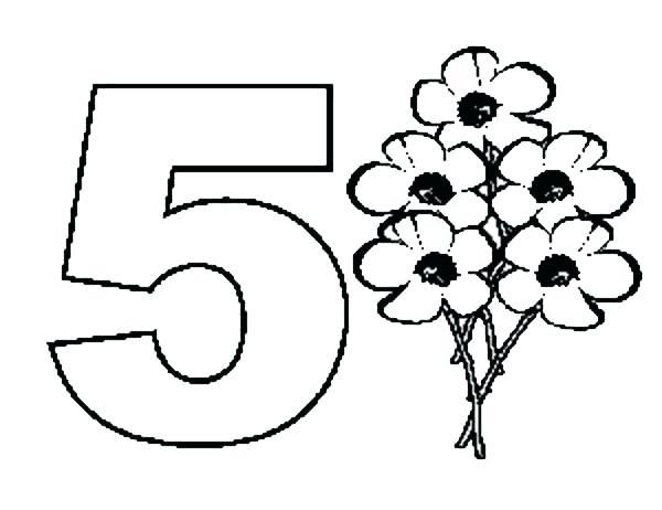 Раскраска цифра - 5 для детей, онлайн бесплатно