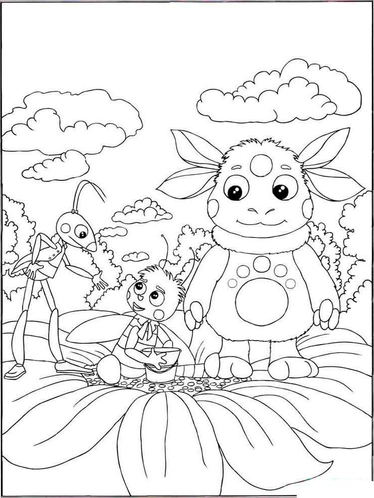 Раскраска Лунтик и его друзья, распечатать бесплатно
