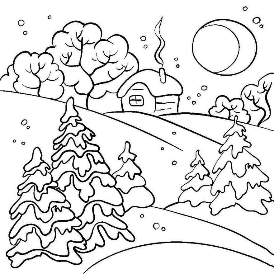 Раскраска Зима, для детей