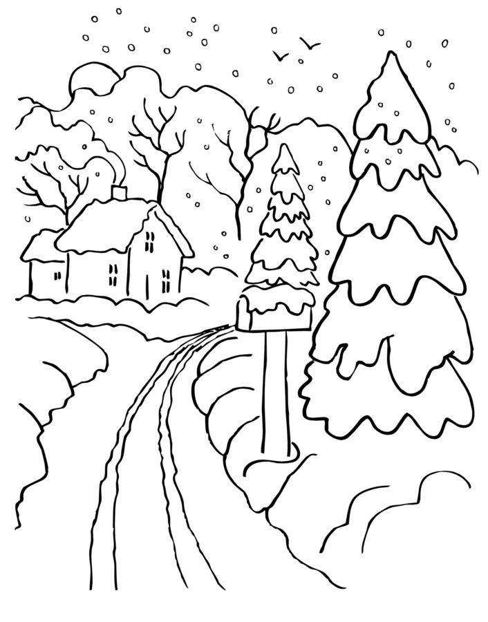 Скачать и распечатать раскраски - зима