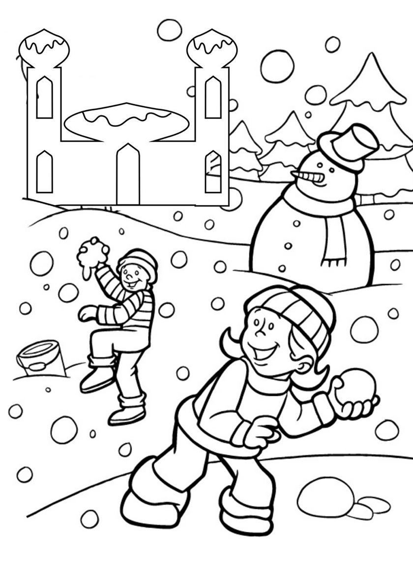 Скачать и распечатать раскраску для детей - зима