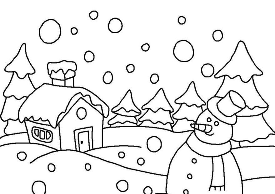 Раскраска Зима для мальчиков и девочек