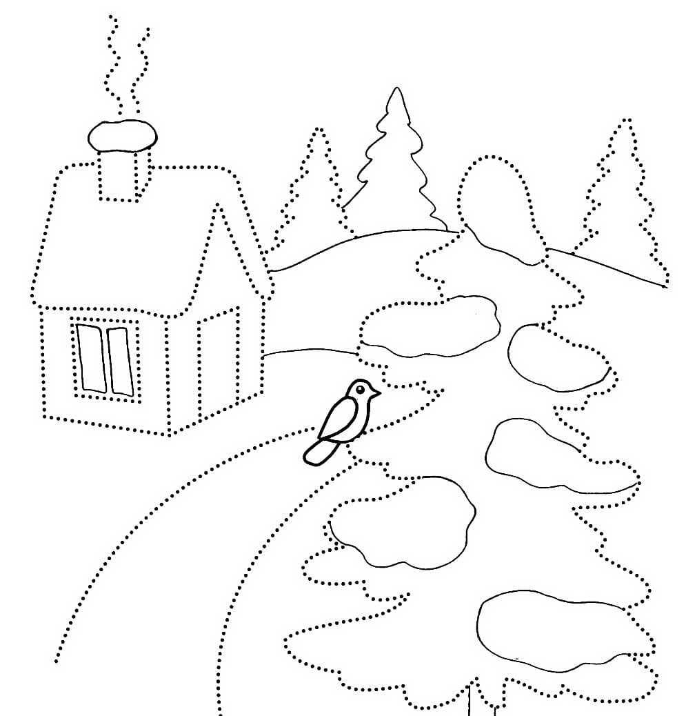 Раскраска зима для детей, обвести и раскрасить