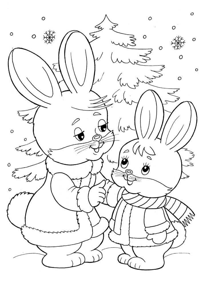 Раскраска животные зимой, для детей