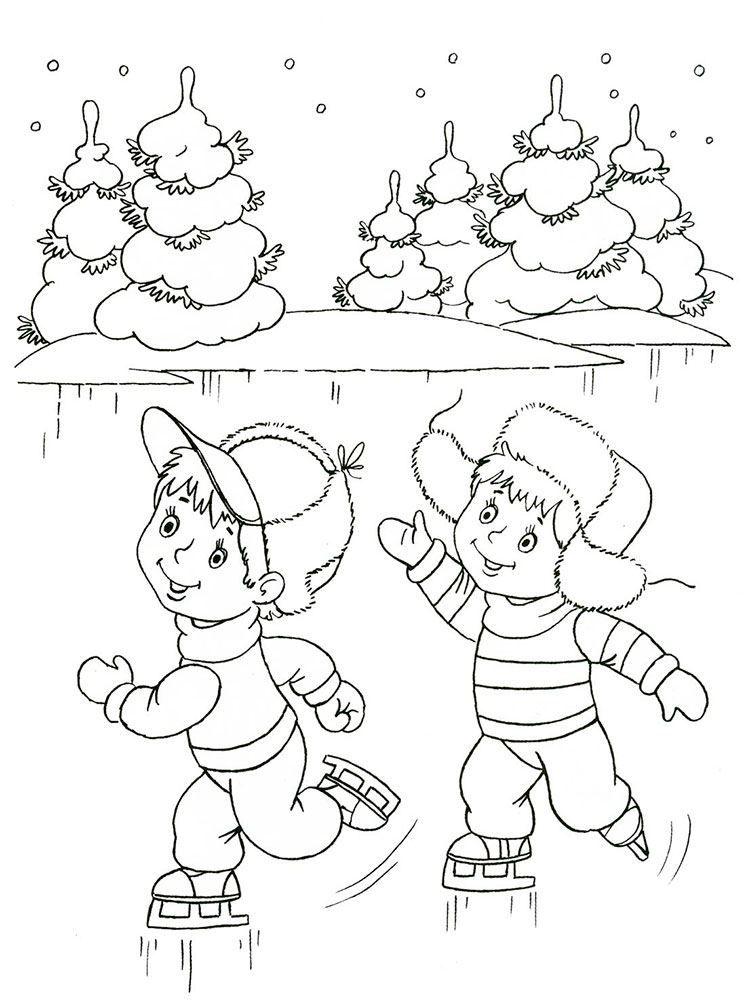 Раскраска зима для детей, распечатать