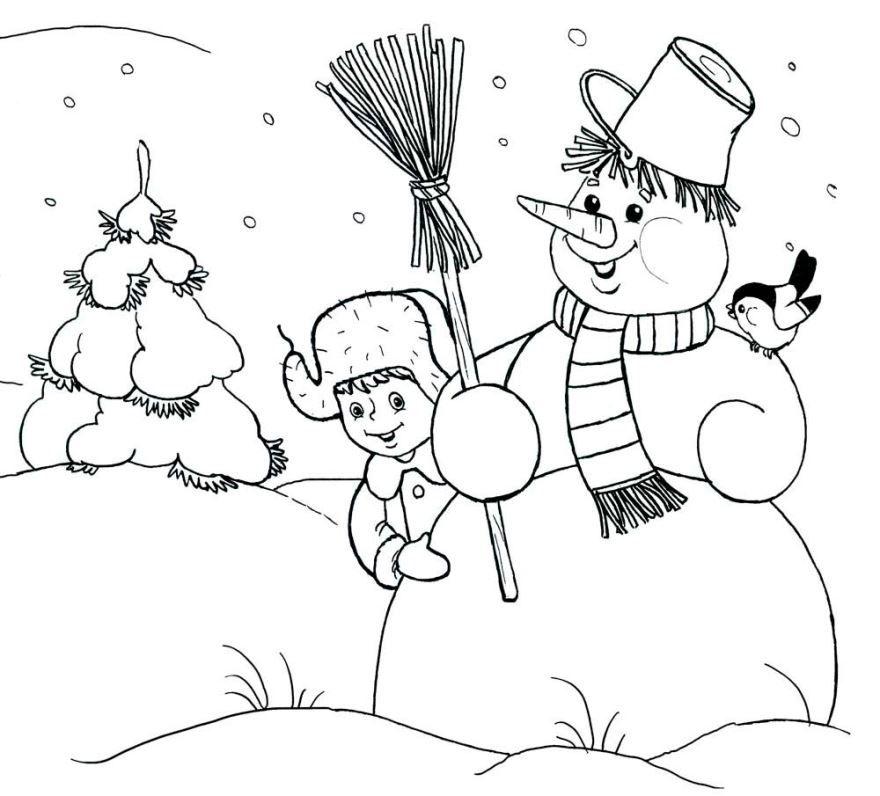 Раскраска Зима для детей - снеговик