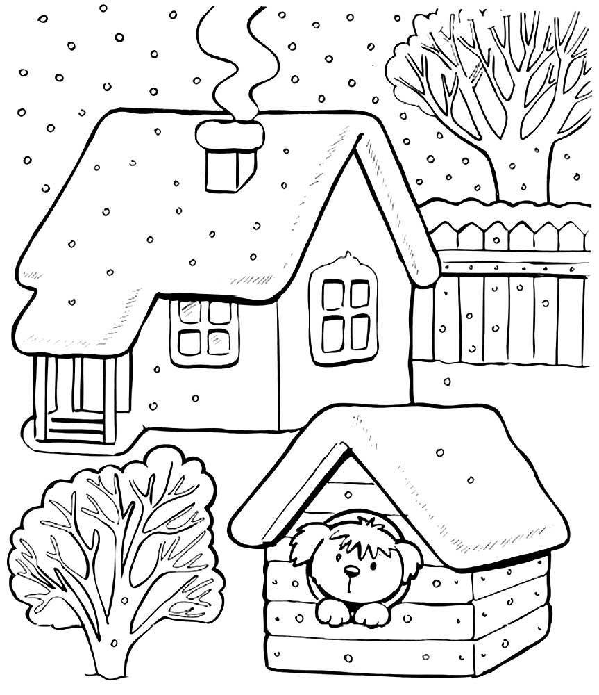 Раскраски зима для детей, распечатать