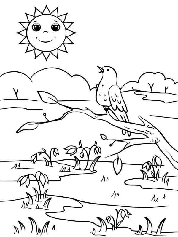 Раскраска Весна, для детей распечатать бесплатно