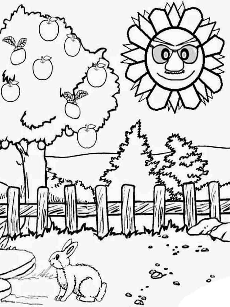 Пейзаж лета, раскраски для мальчиков и девочек