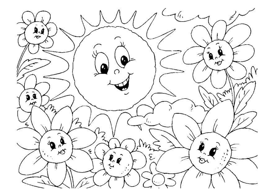 Раскраски цветы лета, для детей
