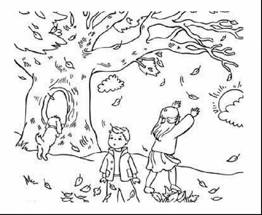 Раскраска время года - Осень, распечатать