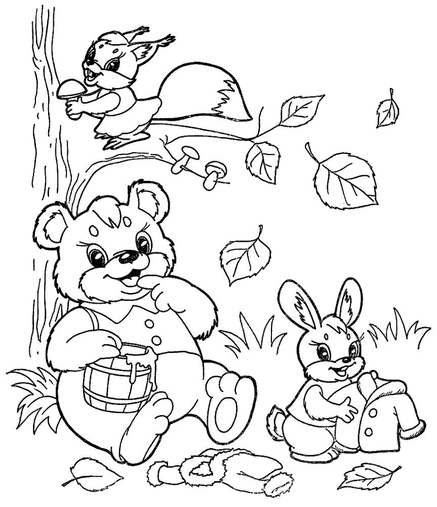 Картинка осень, раскраска для детей