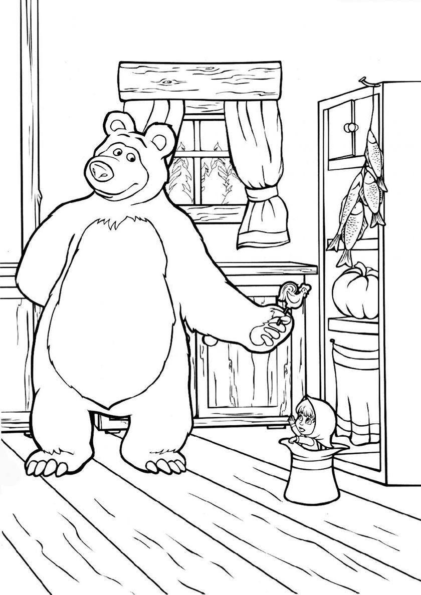 Раскраска для детей - Маша и медведь