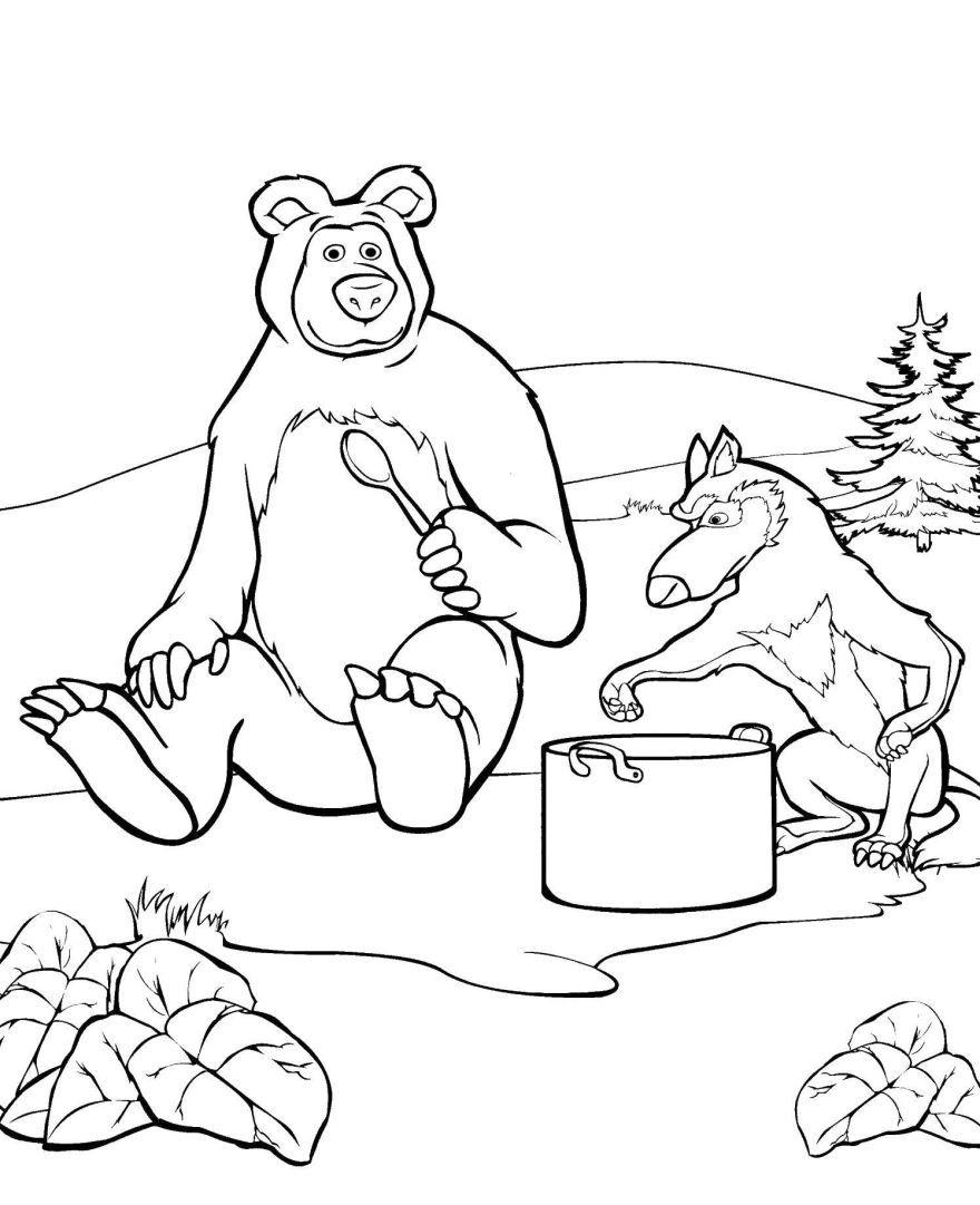 Раскраски для детей - Маша и медведь