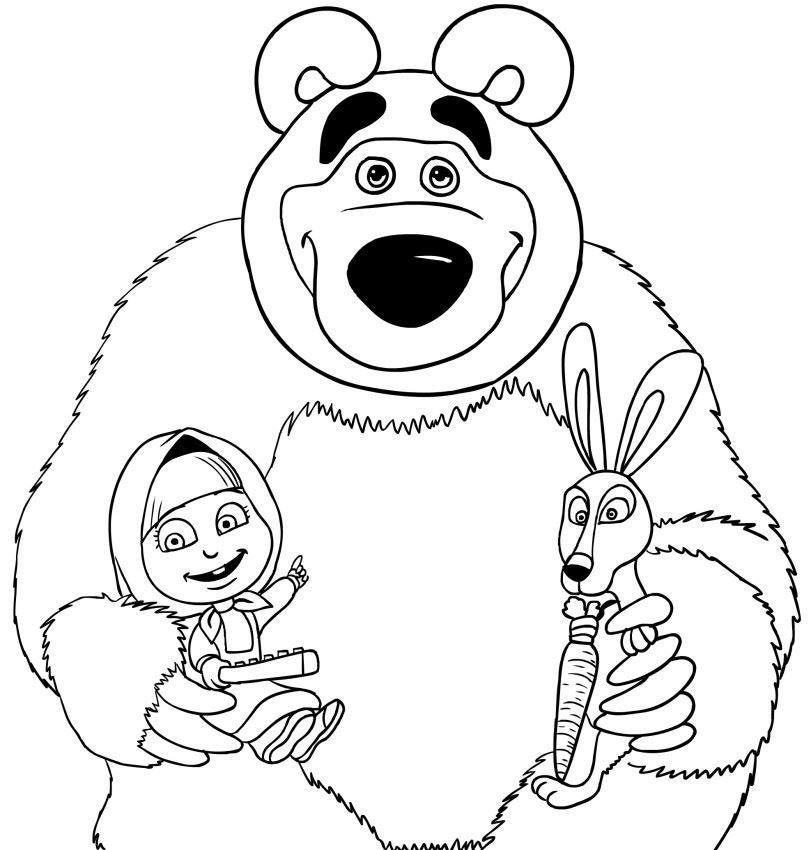 Раскраска - Маша и медведь, скачать и распечатать бесплатно