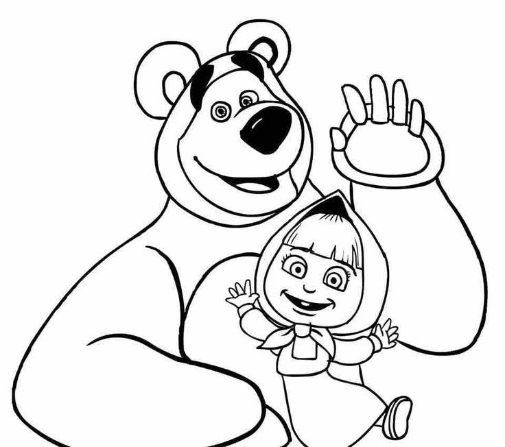 Скачать раскраску - Маша и медведь