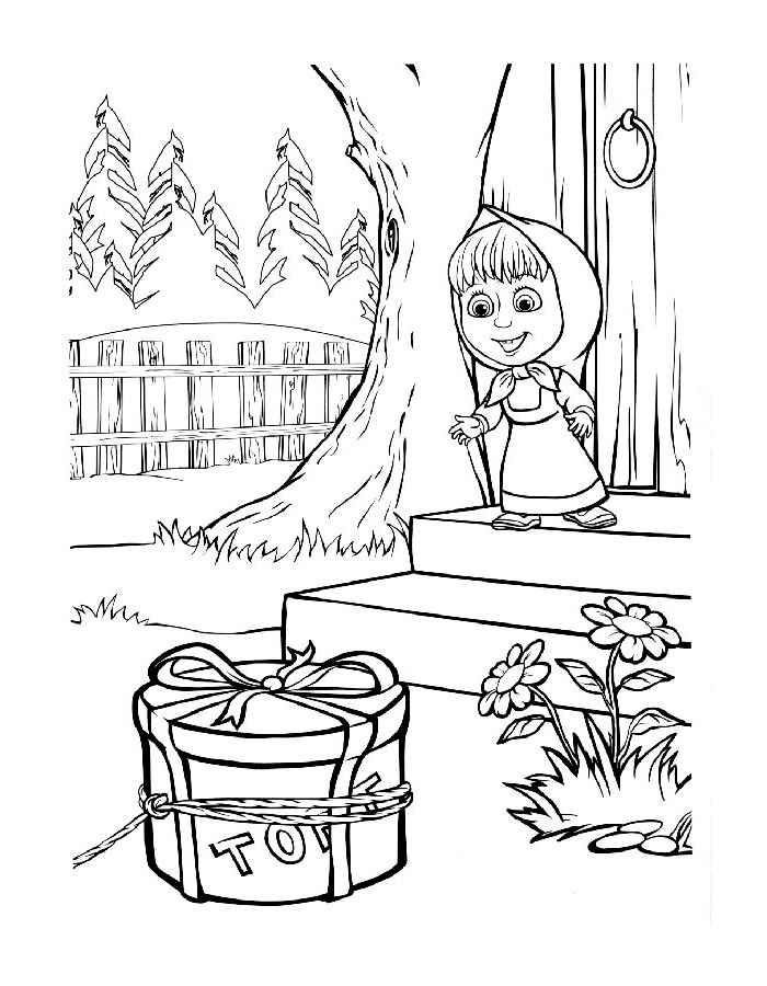 Раскраска - Маша и медведь, для детей