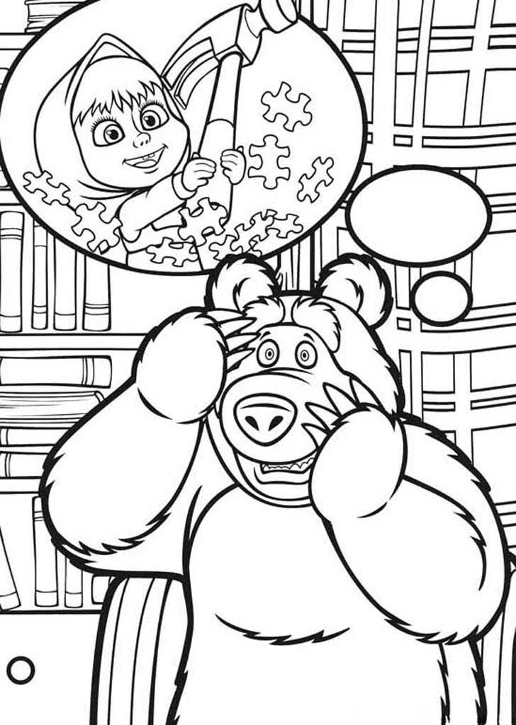 Раскраска - Маша и медведь, распечатать