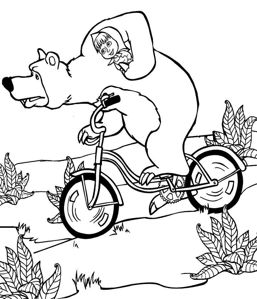 Раскраски бесплатно - Маша и медведь