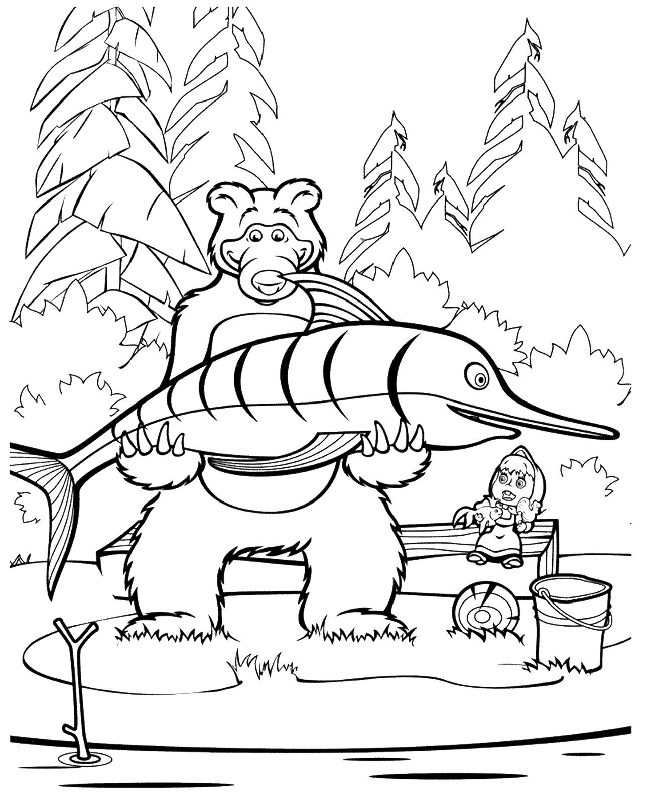 Раскраска - Маша и медведь