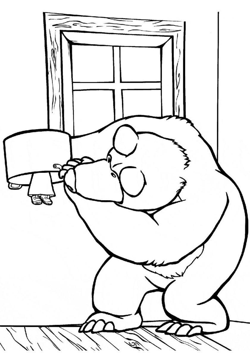 Раскраска - Маша и медведь, онлайн бесплатно