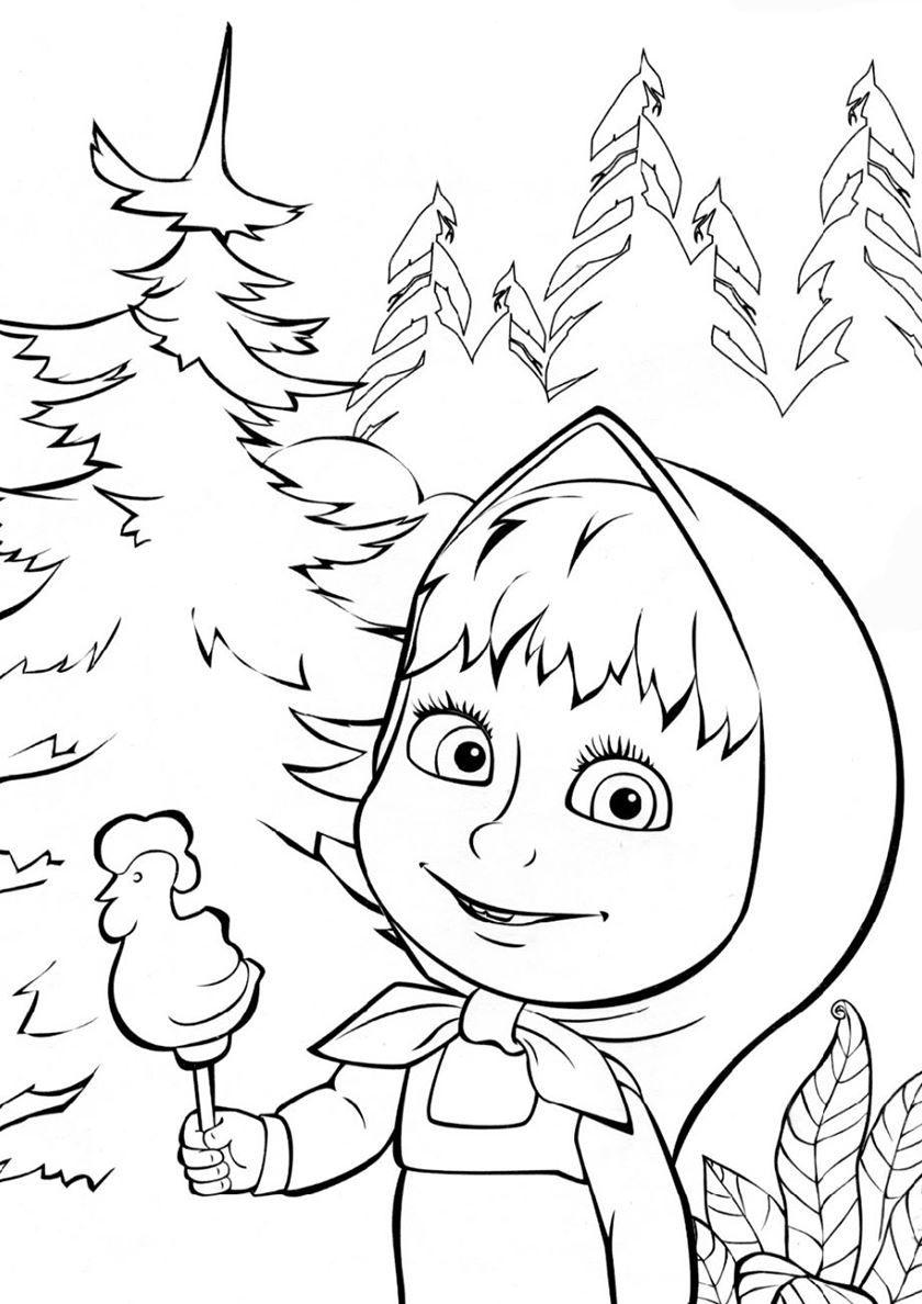 Раскраски для малышей - Маша и медведь