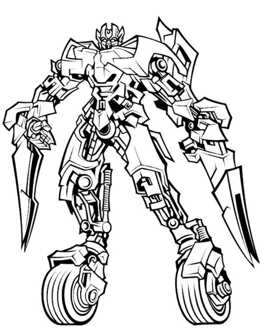 Раскраски робот трансформер, распечатать