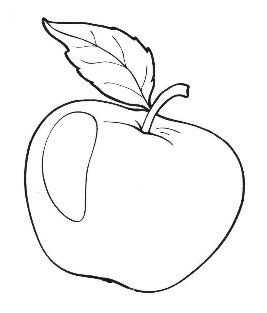 Фрукты раскраска для детей - яблоко