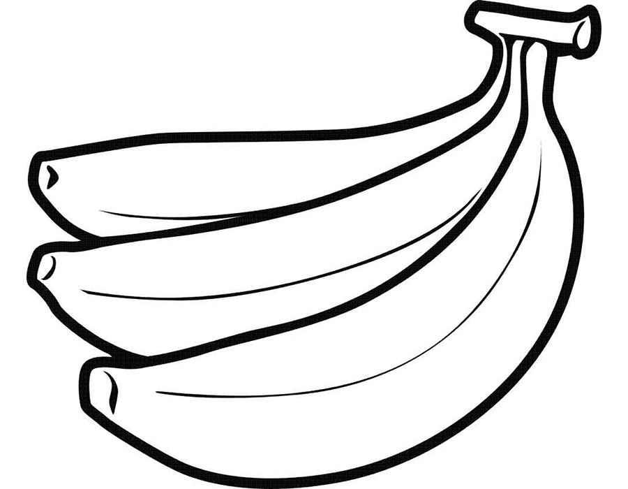Фрукты раскраска для детей - бананы