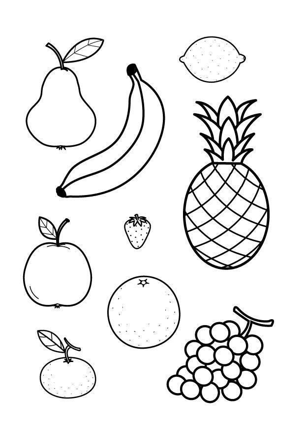 Раскраска фрукты для детей
