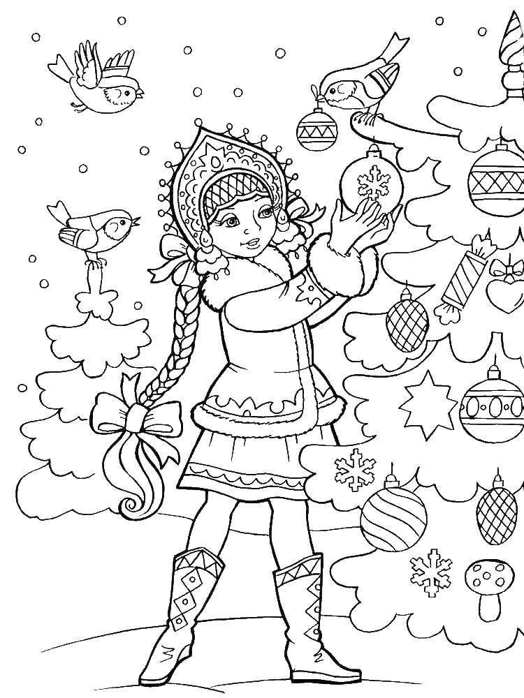 Новогодняя раскраска для детей - Снегурочка
