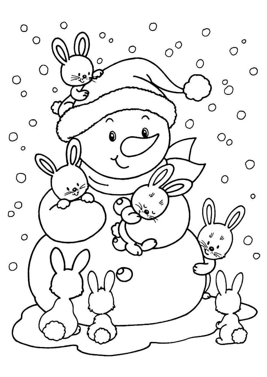 Новогодняя раскраска для детей - Снеговик