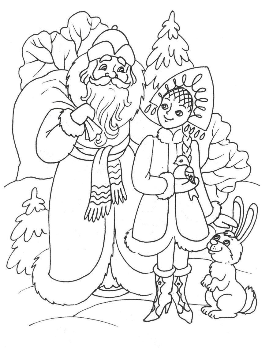 Новогодние раскраски детям, распечатать