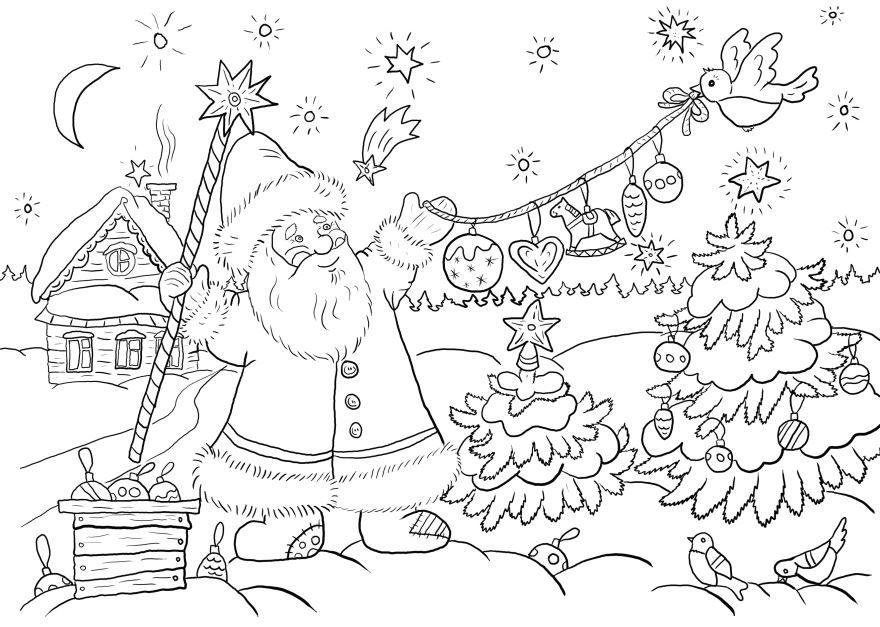 Новогодняя раскраска для детей, скачать и распечатать бесплатно