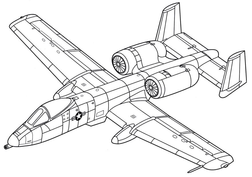 Раскраска военный самолет